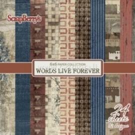 "Popieriaus rinkinys ""Words Live Forever"", 15x15 cm, 24 vnt."
