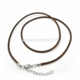 Vaškuota medvilninė virvelė su užsegimu, rudos sp., 45 cm