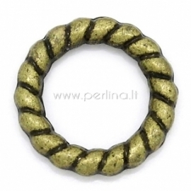 Decorative closed twist jump ring, antique bronze, 10 mm, 1 pc