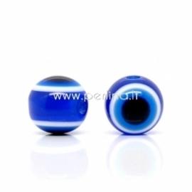 "Akrilinis karoliukas ""Akis"", mėlynos sp., 10 mm, 1 vnt."