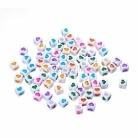 "Akriliniai karoliukai ""Širdelės"", įv. spalvų sp., 6x6 mm, 10 vnt."