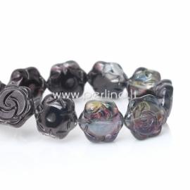 """Stiklinis karoliukas """"Gėlytė"""", purpurinė-juoda AB sp., 16x15 mm, 1 vnt."""