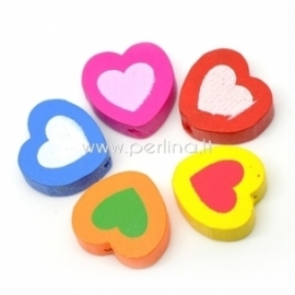 """Wood spacer bead """"Heart"""", mixed color, 17x18 mm, 15 pcs"""