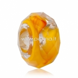 Lampwork glass Pandora style bead, faceted, yellow/transparent, 14x8 mm
