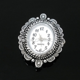 Watch face, oval, antique silver, 33x26 mm