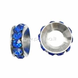 Pandora karoliukas-rondelė su kristalais, sidabro sp., 10x5 mm