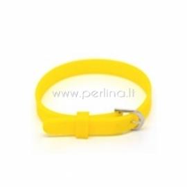 Silikoninė apyrankė laikrodžiui, geltona sp., 21x0,8 cm