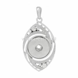 Copper snap button pendant, silver tone, 58x29 mm