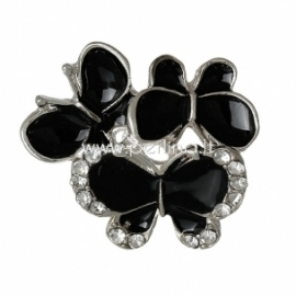 "Metalinė detalė ""Drugelis"", juodos sp. su kristalais, 21x19 mm"