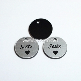 """Org. stiklo pakabukas """"Sesės"""", juodos/sidabrinės sp., 1,5x1,5 cm"""