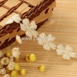 Medvilninė nėrinių juostelė, šv. gelsva, 20 mm, 1 m
