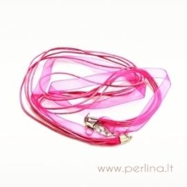Organzos ir virvelių vėrinys, rožinis, 44 cm