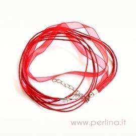 Organzos ir virvelių vėrinys, raudonas, 44 cm