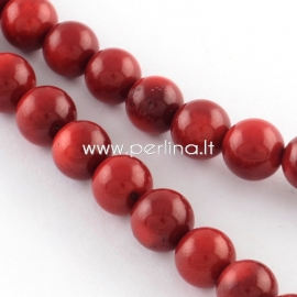 Natural coral bead, dyed, dark red, 7,5~8,5 mm, strand 42 cm