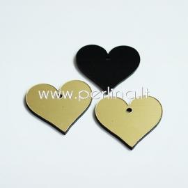 """Org. stiklo detalė-pakabukas """"Širdis"""", juodos/auksinės sp., 2,2x2,5 cm"""