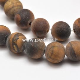 Natural tiger eye gemstone bead, frosted round, strand 38 cm, 10 mm