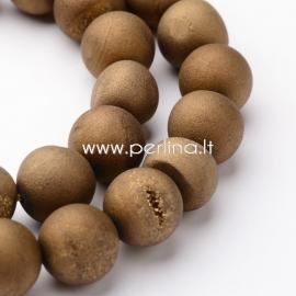 Natūralus galvanizuotas agatas, karoliukas, sidabro sp., 10 mm, 1 vnt.
