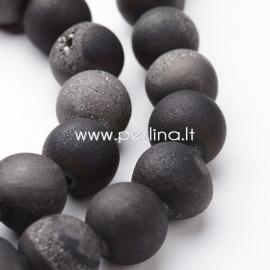 Natūralus galvanizuotas agatas, karoliukas, sendinto aukso sp., 10 mm, 1 vnt.