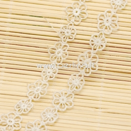 Cotton lace ribbon, light yellow, 20 mm, 1 m