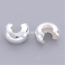 Crimp beads cover, silver color, 4x3 mm, 10 pcs
