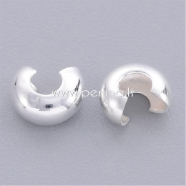 Crimp beads cover, silver color, 4x3 mm, 10 pcs