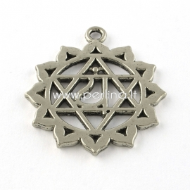 "Pendant ""Heart Chakra"", antique silver, 34x30x2mm"