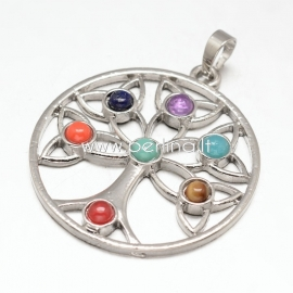 "Chakra pendant ""Tree of Life"", platinum, 44x39,5x5mm"