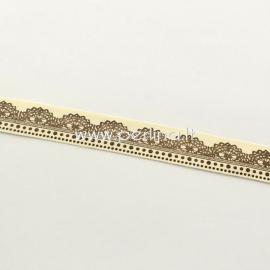 Medvilninė juostelė, kreminė su rudos sp. ornamentu, 20 mm, 1,82 m
