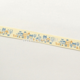 "Printted cotton ribbon ""House"", off white, 20 mm, 1,82 m"
