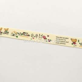 Printted cotton ribbon, off white with multicolor ornaments, 20 mm, 1,82 m