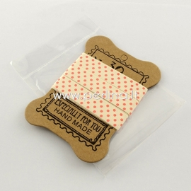 "Printted cotton ribbon ""Dots"", off white, 15 mm, 1,82 m"