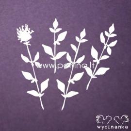 """Kartoninė detalė """"Gėlės ir žolės 3"""", 4 vnt."""