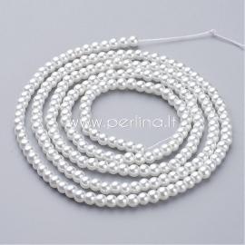 Stiklinis perlas, baltas, 4 mm, 1 juosta (apie 216 vnt.)