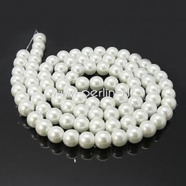 Stiklinis perlas, baltas, 6 mm, 1 juosta (apie 140 vnt.)