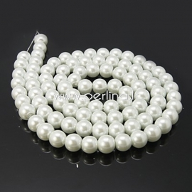 Stiklinis perlas, baltas, 8 mm, 1 juosta (apie 110 vnt.)