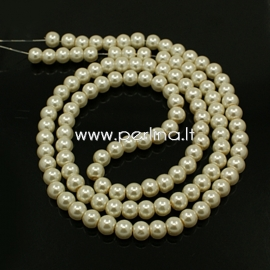 Stiklinis perlas, dramblio kaulo sp., 6 mm, 1 juosta (apie 140 vnt.)