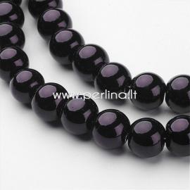 Stiklinis perlas, juodos sp., 10 mm, 1 juosta (apie 85 vnt.)