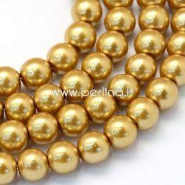Stiklinis perlas, aukso sp., 12 mm, 1 juosta (apie 70 vnt.)