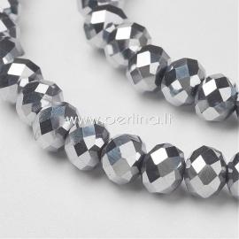 Stiklinis karoliukas, facetuotas, rondelė, metalizuotas sidabro sp., 6x4 mm, 1 vnt.