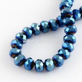 Stiklinis karoliukas, facetuotas, rondelė, metalizuotas mėlynos sp., 6x5 mm, 1 vnt.