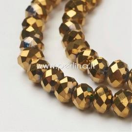 Stiklinis karoliukas, facetuotas, rondelė, metalizuotas aukso sp., 8x6 mm, 1 juosta (72 vnt.)