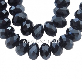 Glass bead, rondelle, faceted, black, 8x6 mm, 1 strand (72 pcs)