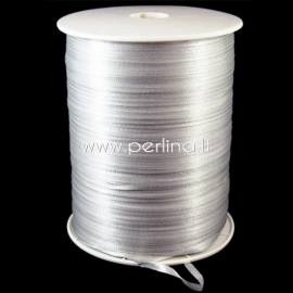 Satin ribbon, light grey, 3 mm, 1 m