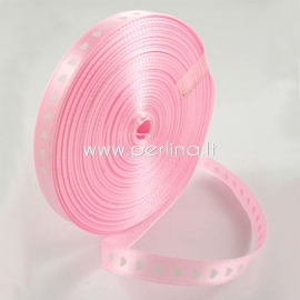 Satin ribbon, pink with hearts, 10 mm, 1 m