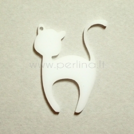 """Org. stiklo detalė-pakabukas """"Katinėlis 1"""", baltas, 6x4.7 cm"""