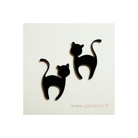 """Org. stiklo detalė-pakabukas """"Katinėlis 1"""", juodos sp., 6x4,7 cm"""