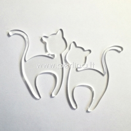 """Org. stiklo detalė """"Katinėlis 1"""", skaidrios sp., 6x4,7 cm"""