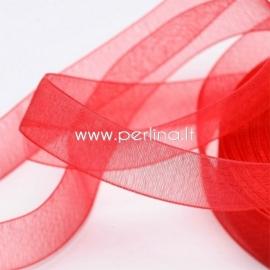 Organza ribbon, red, 15 mm, 1 m