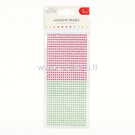 Adhesive pearls, red and green, 3mm, 800 pcs