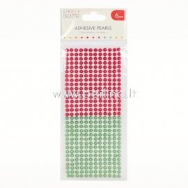 Adhesive pearls, red and green, 6mm, 372 pcs